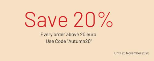 20% off until 25 nov 2020